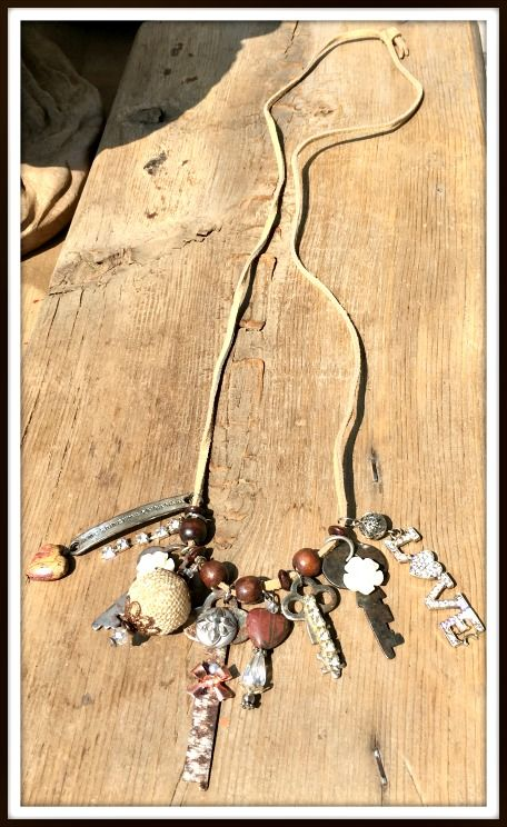 """VINTAGE GYPSY CHARM NECKLACE! Rhinestone """"LOVE"""" Embellished Antique Keys Brown Gemstone Heart Charm Long Leather Necklace  #necklace #jewelry #gemstone #charm #love #heart #vintage #key #embellished #jasper #boho #rhinestone #bohemian #gypsy #cowgirl #beautiful #rustic #boutique #custom #unique"""