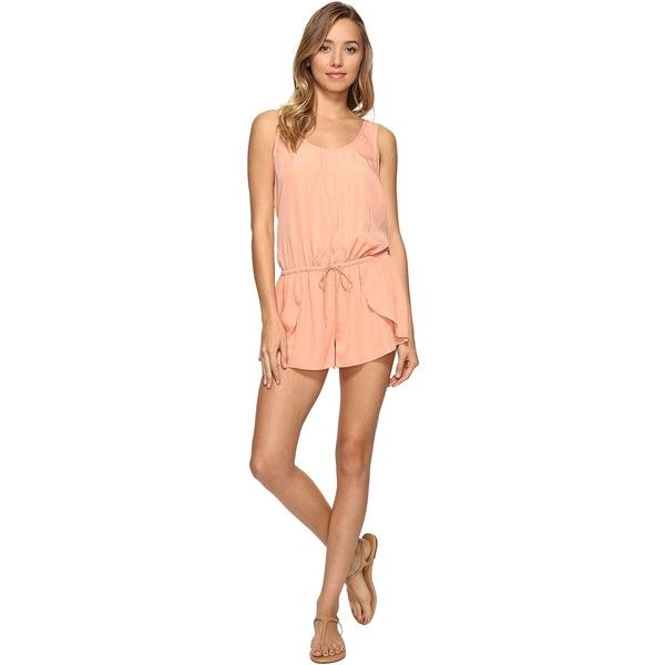 Rip Curl Classic Surf Romper (Coral) Women's Jumpsuit & Rompers One... ($21) ❤ liked on Polyvore featuring jumpsuits, rompers, coral, red rompers, coral jumpsuits, playsuit romper, pleated jumpsuit and rip curl