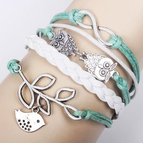 This is a very cute bracelet. Lucky Olive Branch and Pigeons represent the love and peace. Two owls looks so cute.