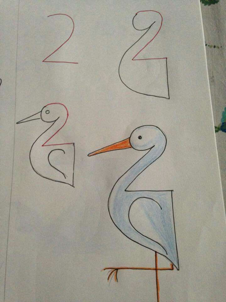 Simple 'how to draw a stork' using the number 2. Get the kids excited about seeing storks on your trip to Morocco.