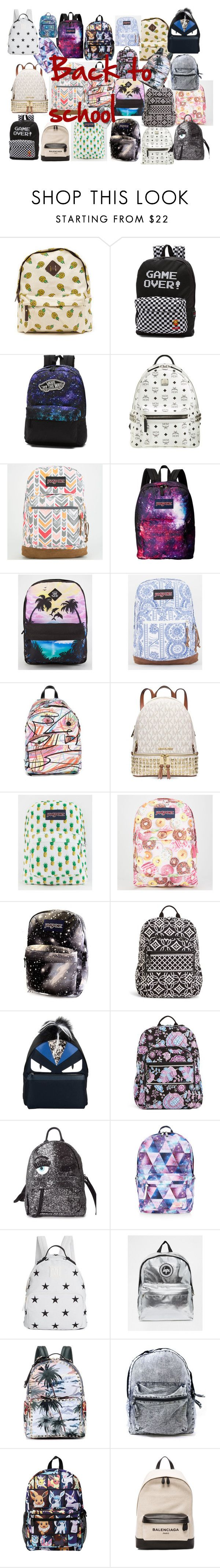 """Sac à dos"" by emma919256 ❤ liked on Polyvore featuring Vans, MCM, JanSport, Jeremy Scott, Michael Kors, Vera Bradley, Fendi, Chiara Ferragni, Accessorize and Tommy Hilfiger"