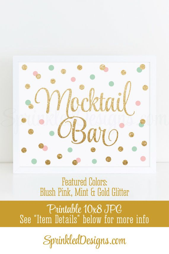 Mocktail Bar Sign - Blush Pink Mint Green Gold Glitter Baby Bridal Shower Ideas, Sip N See Party Sign, Birthday Party - Printable Table Sign by SprinkledDesigns.com