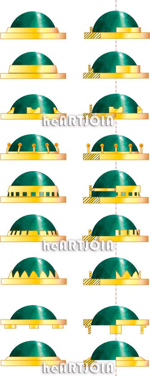 Different bezel setting styles for cabochons. - Virolas para cravação de pedras preciosas cabochon - gem setting, gemstones, metalsmith, jewelry making