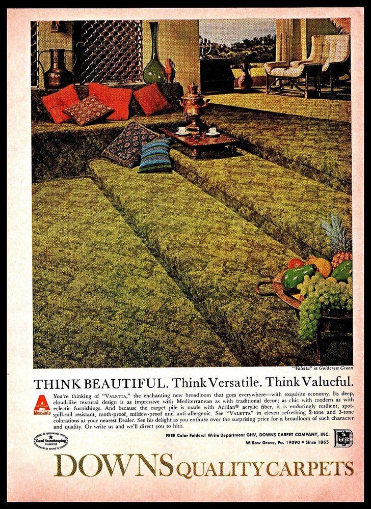 #1969 Downs Carpet Company Broadloom #HomeDecor #Vintage Photo #1960s Print #Ad #DownsCarpetCompany