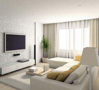 sala de estar minimalista parede com papel de cornucopias :)