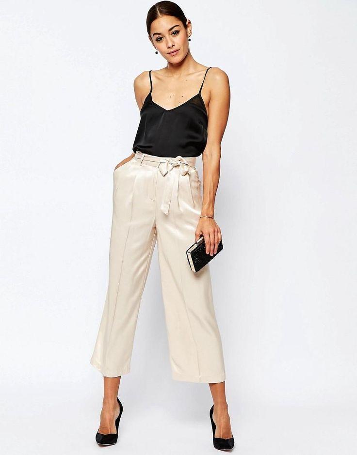 ASOS   ASOS Premium Satin Culotte Suit Pants at ASOS