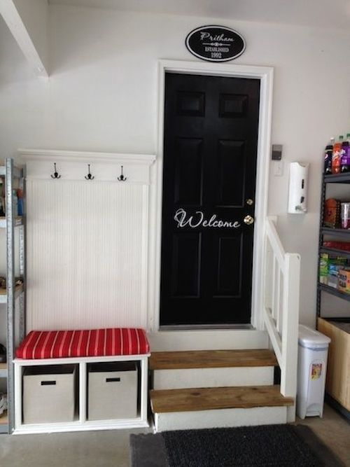Mudroom in the Garage - a clever way to create an organized and welcoming entryway in the garage + Garage Organization Ideas - via Listotic