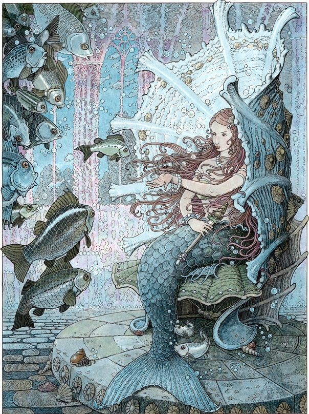 """The Girl-Fish - """"The whole troop floated into the chamber of audience, where the queen, who was half a woman after all, was seated on a throne made of a green and blue shell."""" The Orange Fairy Book by Andrew Lang Illustrated by Tomislav Tomic"""