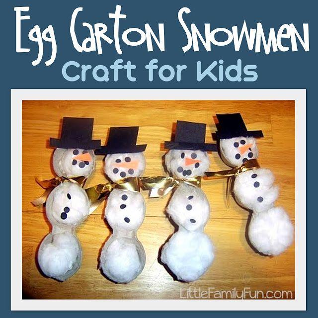 Little Family Fun: Dec. 19 - Egg Carton Snowmen