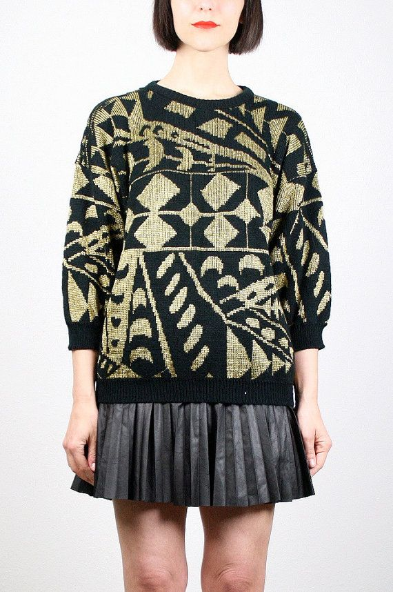 Vintage 80s Sweater Black Gold Jumper Metallic Knit Art Deco Abstract Print Geometric Knit Cosby Sweater Glam New Wave 1980s Mod M Medium by ShopTwitchVintage on Etsy #vintage #etsy #80s #1980s #gold #mod #sweater #jumper #cosbysweater #deco #metallic