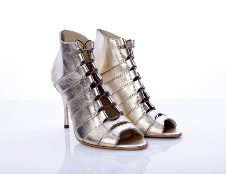Leather Golden sandals by Mihaela Glavan |  http://bit.ly/1kVYtT3 www.wearitwithlove.com