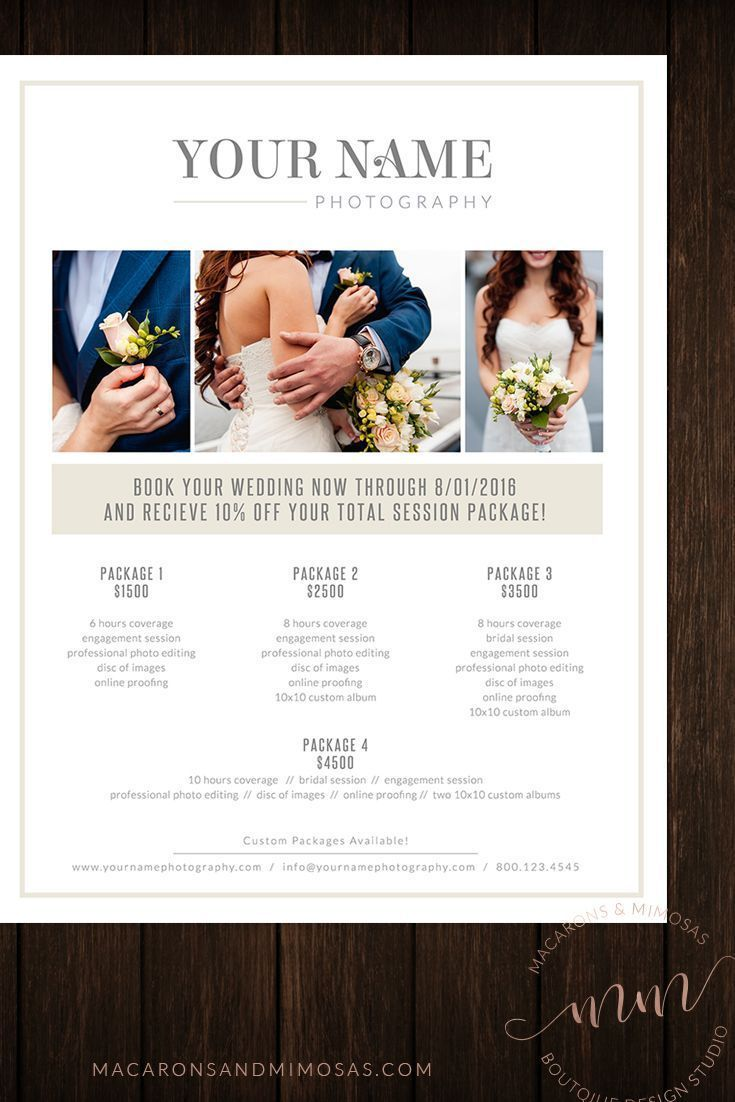 Mandy Photography Price List Template Wedding Photography
