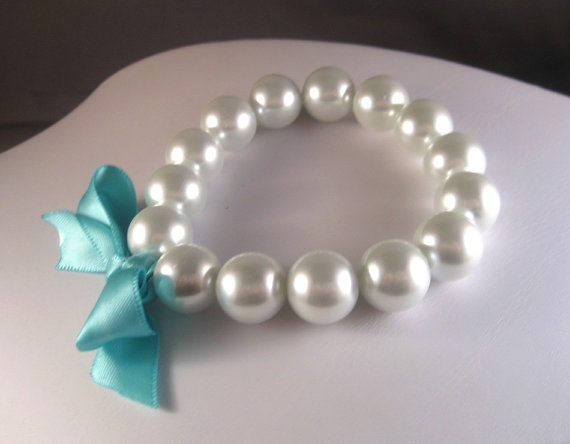 White Pearl and Tiffany Blue Ribbon Stretch by CarlenaDesigns, $14.00