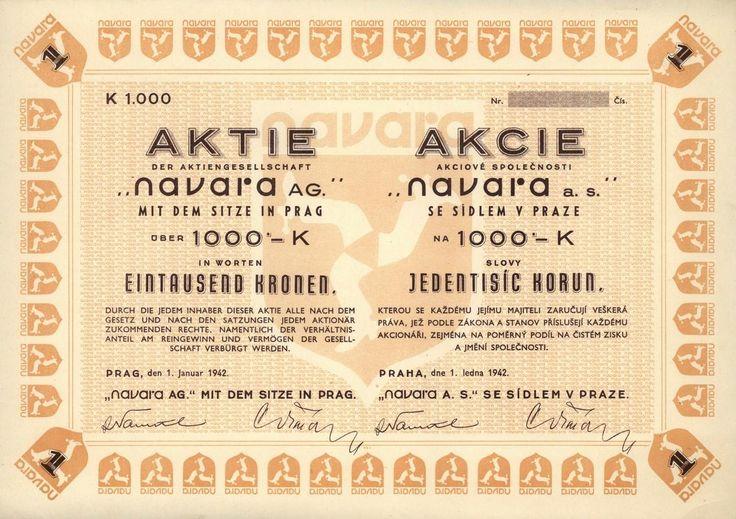 Navara a.s. se sídlem v Praze (Navara AG. mit dem Sitze in Prag). Akcie na 1 000 Korun. Praha, 1942.