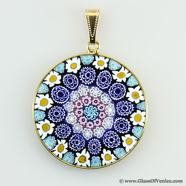 Annes loves and likes 31 pinterest large millefiori pendant in gold plated frame 32mm mozeypictures Images
