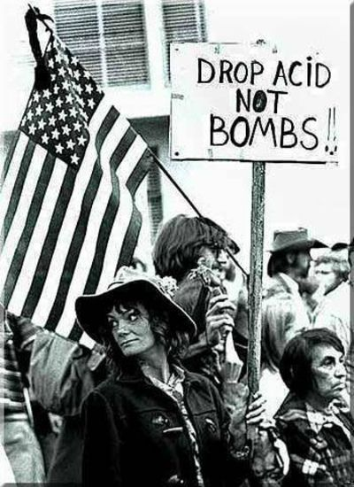 Tre 60's - Drop Acid Not Bombs sign at anti war protest - San Francisco, March 1969. Description from pinterest.com. I searched for this on…