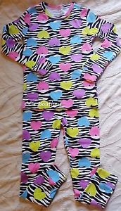 Another great find at #ccsboutique www.everythingforchildren.net Like us on facebook please!  facebook.com/ccsboutiquestore Girls CANDLESTICKS pajamas 3T 4T 5 NWT cotton long zebra neon hearts 80s punk