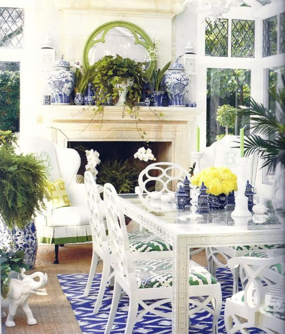 Ruthie Sommers - green, white, and blue dining room, leaded glass upper windows, and Frances Elkins- style loop chairs