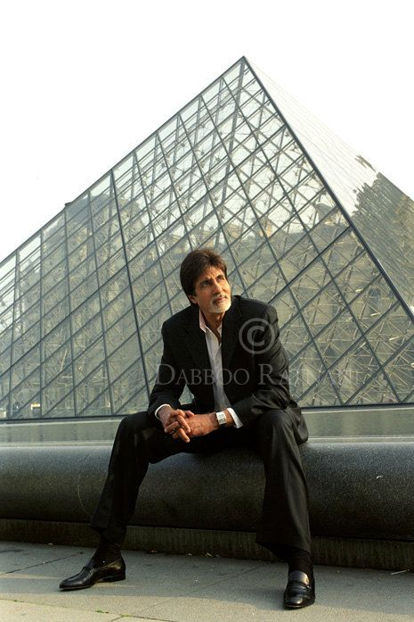 Amitabh Bachchan - Indian Super Star. This handsome hunk is sitting at the entrance to the Lourvre in Paris. Be a joy to return with love of my life someday.
