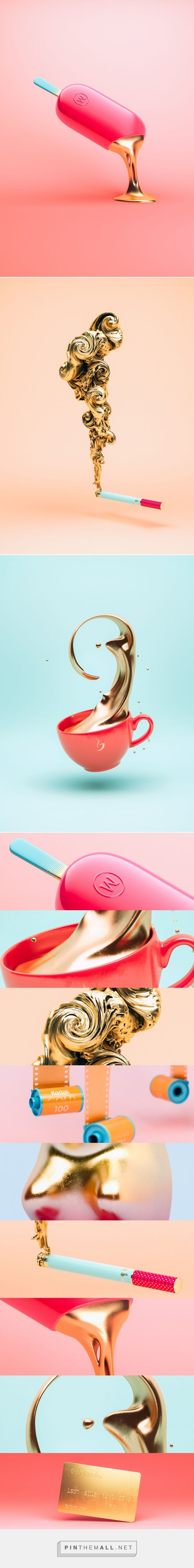 GoldRush on Behance... - a grouped images picture - Pin Them All #IceCream #BuffaloBucksCoffee