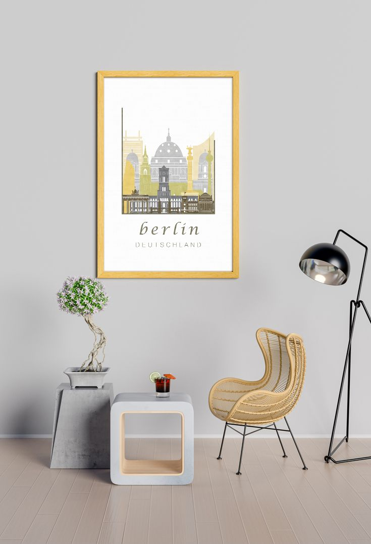Berlin Illustration Printable Germany Travel Wall Art Prints Downloadable Prints Bedroom Instant Download Con Immagini