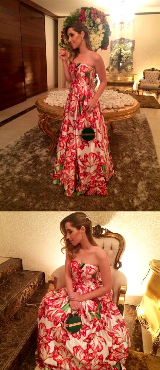 elegant strapless floral prom dress, chic strapless sleeveless floral party dress