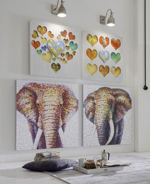 Struktur-Wandbild Elefantenkopf II