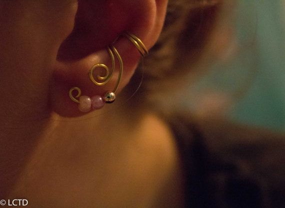 Beaded Spiral Gold Plated Ear Cuff, Spiral Ear Wrap, No Piercing Needed on Etsy, $6.06