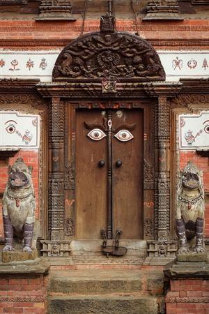 culturalcrosspollination:    Nepal: Bhaktapur, Doors Open, The Doors, Doors Handles, Kathmandu Valley, Portal, Entrance, Temples Doors, Evil Eye