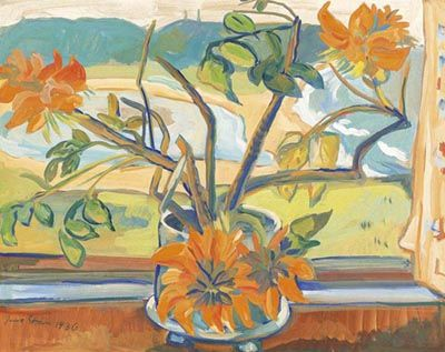 IRMA STERN, Flowers and Beach Landscape 1936 - Irma Stern is one of South Africa's best known artists and one of a few South African painters whose reputation extends beyond the African continent.