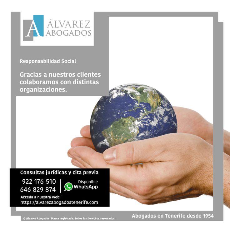 Responsabilidad Social Corporativa. Gracias a la confianza de nuestros clientes, colaboramos con distintas ONGs para crear un mundo más sostenible y mejorar cada día la vida de las personas. https://alvarezabogadostenerife.com/rsc/ #rsc #ong #abogadostenerife