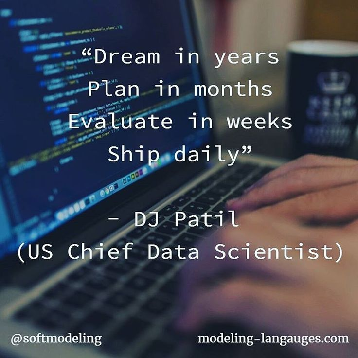 Dream in years Plan in months Evaluate in weeks Ship daily - DJ Patil (US Chief Data Scientist)  #coding #code #ship #continuous  #CI #CD #management #planning #agile #lean #programmer #software #development #data #scientist #us #whitehouse #government #patil #djpatil