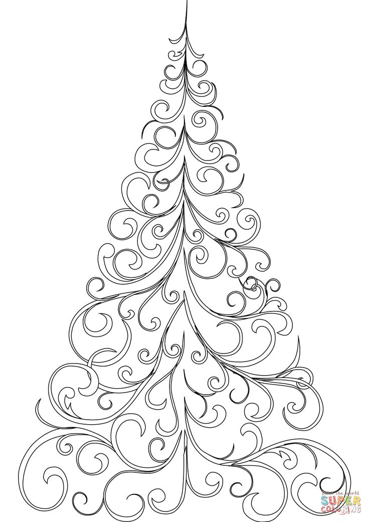 Swirly Christmas Tree Super Coloring Printable