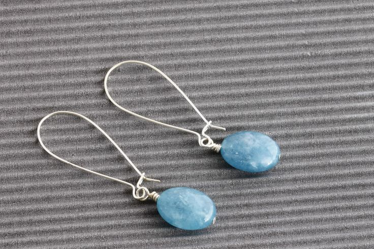 Earrings Aquamarine Gemstone Faceted Oval Beaded BNIB