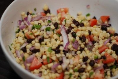 Black Bean and Corn Salad Recipe  (2 pts). I've made something similar without tomatoes and with red peppers and mango instead.