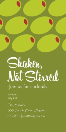 Shaken, Not Stirred Cocktail Party Invite#ilovesnapfish