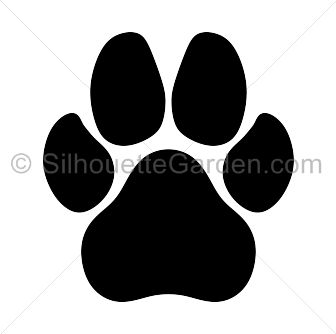 Dog paw print silhouette clip art. Download free versions of the image in EPS, JPG, PDF, PNG, and SVG formats at http://silhouettegarden.com/download/dog-paw-print-silhouette/
