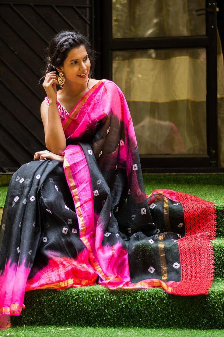Black and pink bandhani print silk kota saree with zari border  #saree #blouse #houseofblouse #indian #bollywood #style #black #pink #white #silk #kota #bandhani #shibori #zari #border