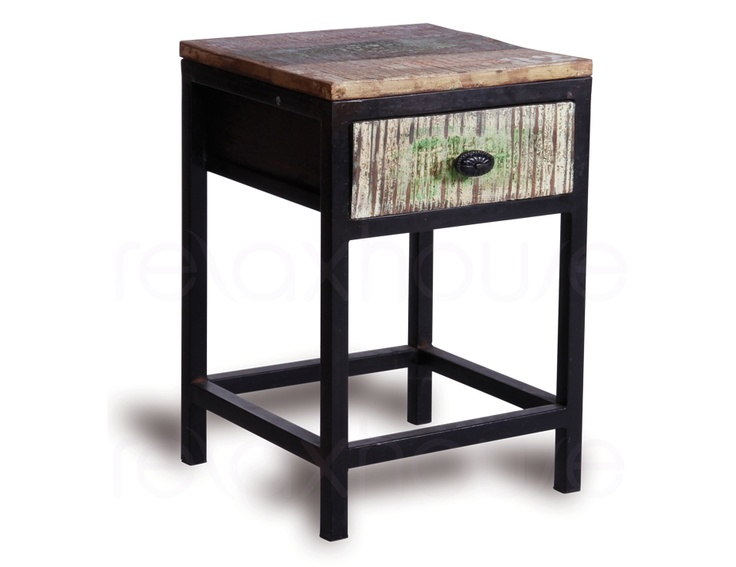 Side Table Cabinet Industrial Distressed Single Drawer