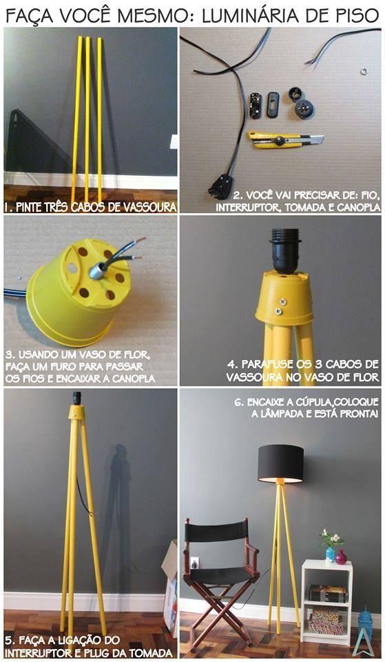 Luminária de piso de cabo de vassoura e vaso de flor