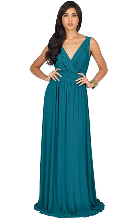 e4e1fa6dee KOH KOH Womens Long Sleeveless Flowy Bridesmaids Cocktail Party Evening  Formal Sexy Summer Wedding Guest Ball Prom Gown Gowns Maxi Dress Dresses,  ...