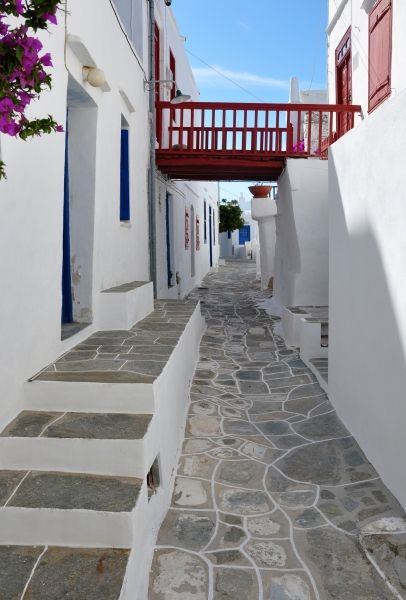 Beautiful street in Kastro, in Sifnos island, Cyclades, Greece
