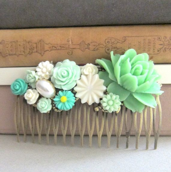 Jewelsalem -- Mint Green Hair Comb Big Rose Head Piece Jade Green Wedding Mint Bridesmaid Gift Fall Trend Autumn Pastel Colors Brown Rustic Earthy Nature
