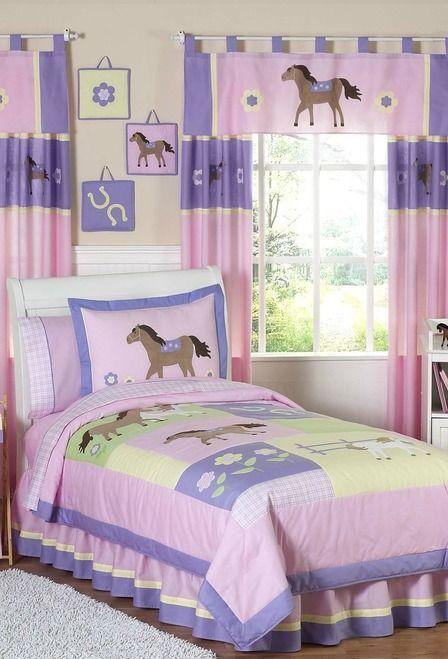 Pretty Pink Pony Bedding Set by Sweet Jojo Designs - 3 Piece Queen / Full