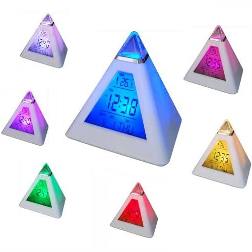 7 Renk Değiştiren Piramit Şeklinde Alarmlı Masa Saati - 10.93 TL + KDV