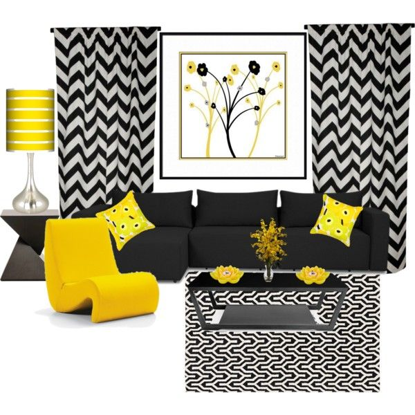 yellow and black living room by truthjc on polyvore - Yellow Living Room Decor