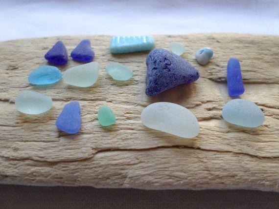 15 Véritables verre de mer rares, couleurs de glaciers ; bleu cobalt, turquoise, bleu ciel, écume de mer, bleuet, azur ...
