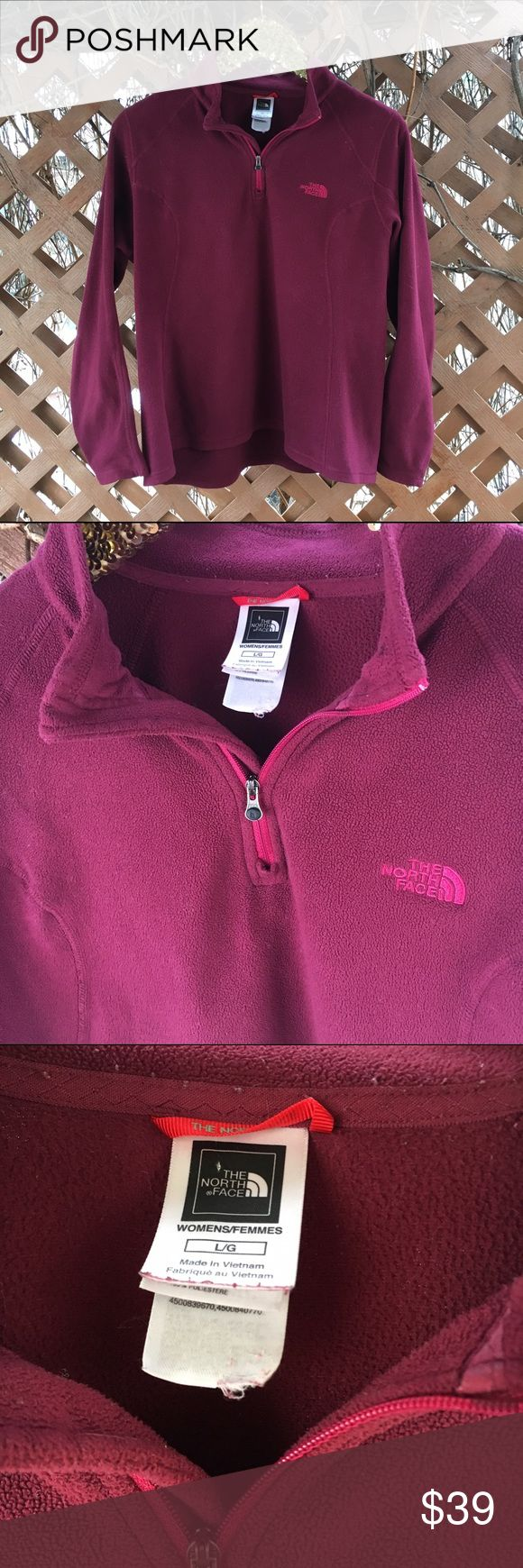 "{north face} Maroon Fleece 3/4 Zip Pullover L EUC! Worst wash wear/pilling is inside the collar. Will de-lint again for good measure before sending. Gently loved and plenty of life left! Perfect for layering whether you're skiing or lying on the couch! The North Face quality, comfort and timeless style. No trendier color than maroon, burgundy, or wine right now! 23"" pit to pit, 26"" shoulder to hem length, 24"" sleeves. Offers warmly welcomed! The North Face Tops"