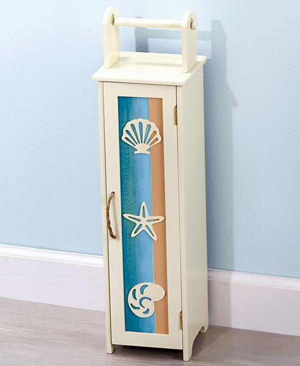 Photographic Gallery Coastal Towel Stacker Storage Seashells Bathroom Space Saver Wooden Beach Decor
