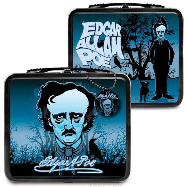 """""""There is no exquisite beauty…without some strangeness in the proportion."""" ― Edgar Allan Poe • Edgar Allan Poe lunchbox, from Archie McPhee • $13"""
